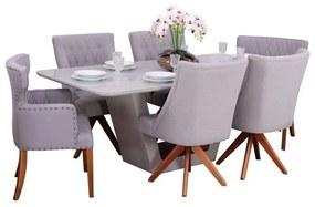 Conjunto Sala de Jantar Mesa Lilie com 4 Cadeiras Ellos Giratória e 2 Cadeiras Matelassê - Wood Prime 38710