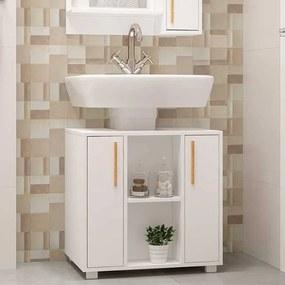Balcão para Banheiro Multi 2 Portas 60cm Branco