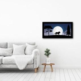 Quadro Alto Relevo leão Arvores Lua Azul40x75cm