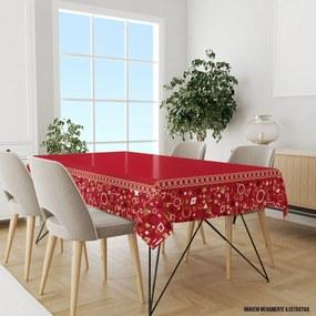 Toalha de Mesa Retangular 10-12 Lugares Elementos Natalinos Vermelho 1.45m x 3.20m Único
