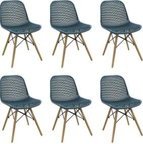 Kit 6 Cadeiras Decorativas Sala e Cozinha Haney (PP) Verde Petróleo - Gran Belo