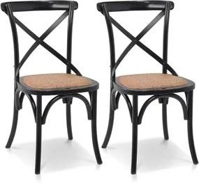 Conjunto de 2 Cadeiras Buffalo em Madeira Maciça - Preta