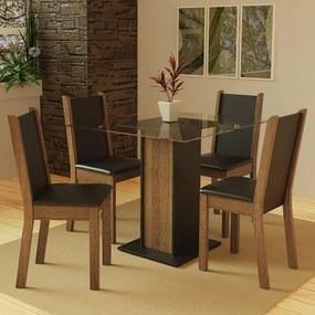 Conjunto Sala de Jantar Madesa Aline Mesa Tampo de Vidro com 4 Cadeiras Preto/Rustic Cor:Preto/Rustic