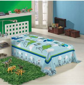 Cobertor Solteiro Lepper Dino Azul Claro 1,50 x 2,20