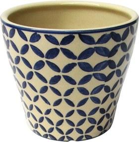 Cachepot em Cerâmica Bege & Azul Geométrico G