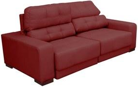 Sofá Sala de Estar Retrátil e Reclinável 3 Lugares Lisboa 230cm Couro Vermelho - Gran Belo