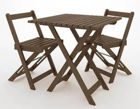 Kit Boteco Mesa Com 2 Cadeiras Cor Stain Nogeuira - 23250 Sun House