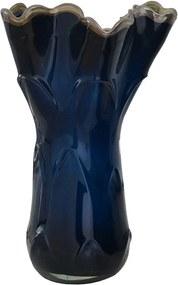 Vaso de Murano Azul com Borda Bege