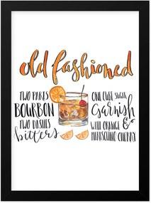 Quadro Adoraria A4 Drink Bebida Coquetel Old Fashioned Preto