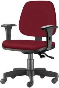 Cadeira Job com Bracos Assento Crepe Vinho Base Rodizio Metalico Preto - 54608 Sun House