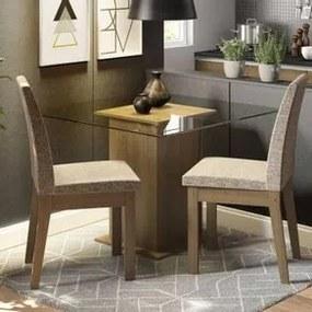 Conjunto Sala de Jantar Madesa Lili Mesa Tampo de Vidro com 2 Cadeiras Rustic/Fendi Cor:Rustic/Fendi