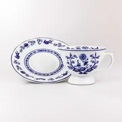 Xícara Chá Com Pires 200 Ml Porcelana Schmidt - Dec. Cebolinha - Branco