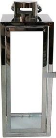 Lanterna Decorativa China Alumino e Vidro Retangular com Alça Preta D15cm x D38cm