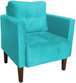 Poltrona Decorativa Lívia Para Sala e Recepção Suede Azul Tiffany - D'Rossi