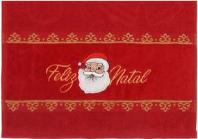 Toalha de Lavabo Bordado Natalino - Appel - Papai Noel - Vermelho