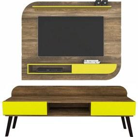 Home Angra/Buma DS Móveis Pés Palito Canela Rústico/Amarelo