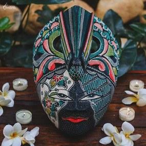 Máscara de Madeira Batik Pássaro Verde