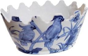 Cachepot em Cerâmica Pássaros Azuis - 15x31x23cm
