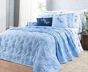 Cobre Leito Yandra King Borboletas cor Azul com 3 peças - Bernadete Casa