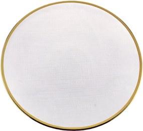 Jogo Prato Sobremesa Cristal Com Borda Dourada 6 Peças Linen 21cm 27810 Wolff