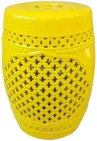 Garden Seat Marroquino Amarelo em Cerâmica - Urban - 46,3x32 cm