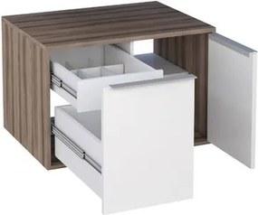 Gabinete Módulo Suspenso para Banheiro 60cm MDF Arati Tamarindo com Branco 59,7x40x43,1cm - Cozimax - Cozimax