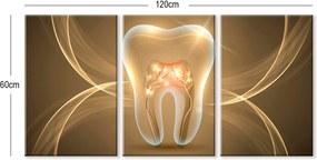Quadro Oppen House    60x120cm Canvas Dente Dourado Clínicas Odonto Decorativo