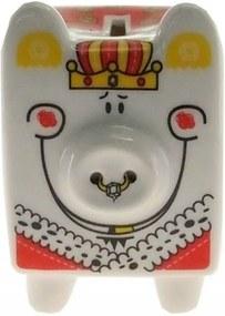 Cofre Personalizado Cerâmica Porco Rei Cor Vermelho 14x10x11