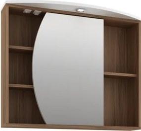 Armário para Banheiro com 1 Porta e Tecla Tomada e LED Duna  80cm 06651.4601 Nogal/Branco - Móveis Bosi