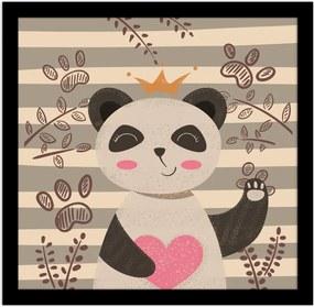 Quadro Emoldurado Cute Panda Bege 20x20cmPreto