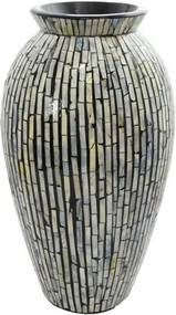 Vaso Decorativo Preto em Madrepérola 42 cm x 20 cm