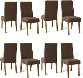 Conjunto 8 Cadeiras Cássia Demolição Tecido Veludo Moca