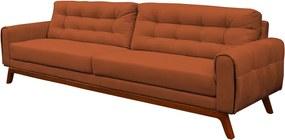 Sofá 4 Lugares Sala de Estar Eros 260 cm Veludo Telha Base Fixa - Gran Belo