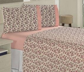 Roupa de Cama Solteiro Suprema 180 Fios 03 Peças - Floral Rosê