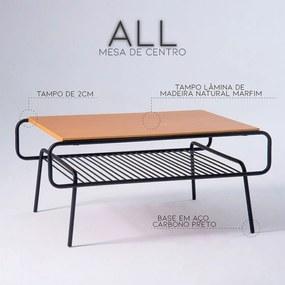 Mesa de Centro All 120cm Aço Preto/Marfim - Gran Belo