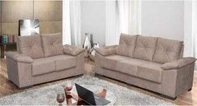Conjunto De Sofá San Marino 3 E 2 Lugares Tecido Suede Amassado Castor - Moveis Marfim