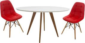 Conjunto Mesa Square Redonda Branco Fosco 80cm + 2 Cadeiras Eiffel Botonê Vermelho