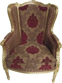 Poltrona Clássica Luis XVI Marrom Folheado a Ouro