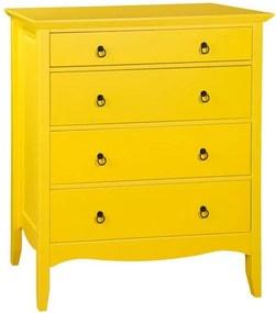 Cômoda 4 gavetas, Amarelo, Greta