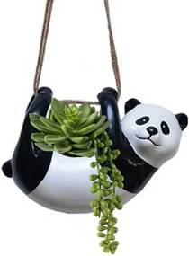 Vaso Cachepô Pendente em Cerâmica Panda