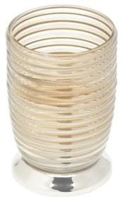 Porta Escovas De Vidro Com Inox Niquelado Évora Dourado 10x11,5cm 27198 Prestige