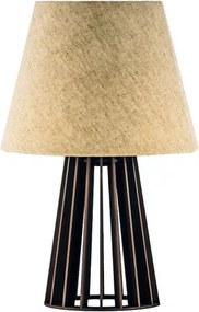 Abajur de Mesa de Madeira com Cúpula de Tecido Crua Soq: E27 Mod: Torre P Cor: Café