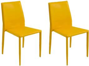 Kit 2 Cadeiras Decorativas Sala e Cozinha Karma PVC Amarela - Gran Belo