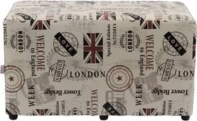 Puff Retângulo Madeira Nobre Love London Stay Puff Bege