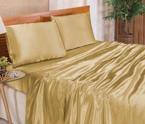 Roupa de Cama Casal Queen Romantic Cetim Charmousse 04 Pçs - Dourado Dourado