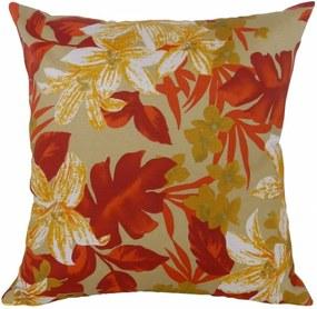 Capa de Almofada Decorativa Floral Marrom Vermelho 45x45cm