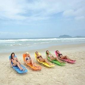 Espreguiçadeira Cadeira Praia Piscina Pvc Laranja Mor Verão