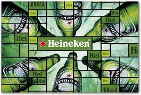 Placa Decorativa Garrafas de Cerveja Heineken Média - 30x20 cm