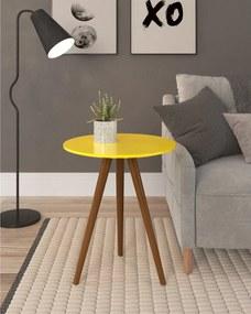 Mesa de Canto Média Amarela Tampo Laca e Pés Amadeirados