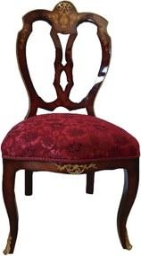 Cadeira Clássica com Estofado Rosa e Detalhes em Bronze - 100x50x50cm